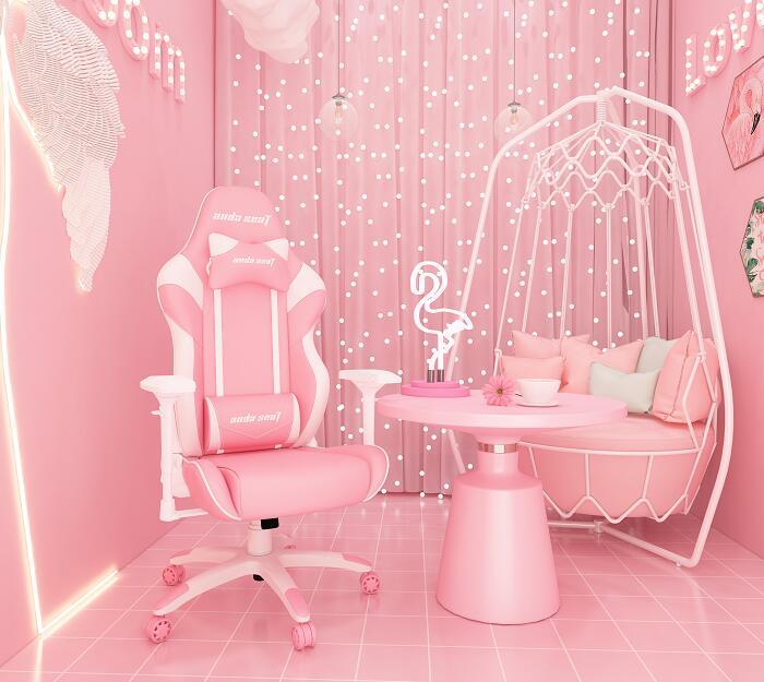 主播同款 初音王座 粉红搭配电竞桌椅组合图